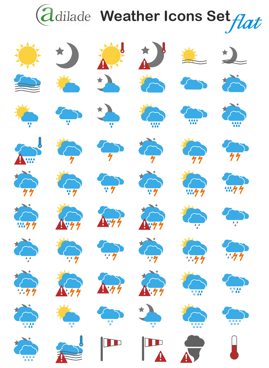 Adilade Weather Icons Set Flat Version