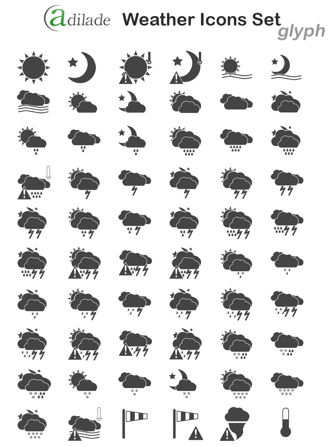 Adilade Weather Icons Set Glyph Version