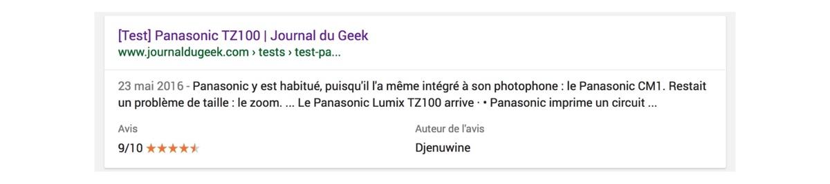 Exemple d'extrait enrichi avec Google